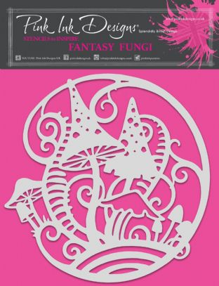 Pink Ink Designs - Fantasy Fungi 8 in x 8 in Stencil
